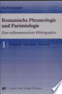 Romanische Phraseologie und Par  miologie