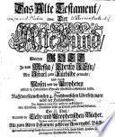 Biblia Pentapla  Das ist  Die B  cher der Heiligen Schrift Des Alten und Neuen Testaments  Nach F  nf facher Deutscher Verdolmetschung
