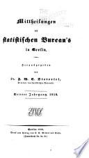 Mittheilungen des Statistischen bureau's in Berlin