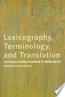 Lexicography  Terminology  and Translation