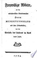 Freywillige Abbitte  an den m  nchnerischen Kalendermacher Menesivs Vogelivs und seine Ordensbr  der