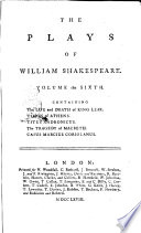 The Plays of William Shakespeare  in Eight Volumes  with the Corrections and Illustrations of Various Commentators  to Wich are Added Notes by Sam Johnson