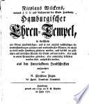 Nicolaus Wilckens, weiland I.U.D. und Archivarius der Stadt Hamburg, Hamburgischer Ehrentempel