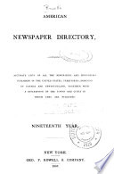 Geo  P  Rowell and Co  s American Newspaper Directory