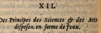 XII Des Principes des Sciences & des Ans difpofez en forme de feux