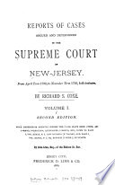 Reports of Cases Argued and Determined in the Supreme Court of New Jersey