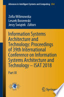 Information Systems Architecture And Technology Proceedings Of 39th International Conference On Information Systems Architecture And Technology Isat 2018