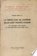 La perfection de l'homme selon st. Thomas d'Aquin