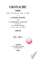 Cronache catalane del secolo XIII e XIV una di     l   altra di Bernardo d   Esclot  prima traduzione italiana di Filippo Mois