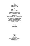 The History of Modern Mathematics: Institutions and applications