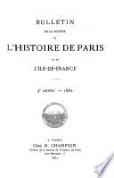 Bulletin de la Societe de L Histoire de Paris et de L ile de France