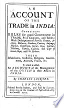 An account of the trade in India