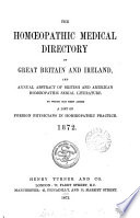 the homeopathic medical directory of the great britain and ireland