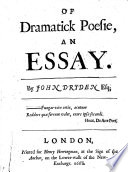 Of Dramatick Poesie  an Essay