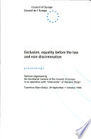 Exclusion  Equality Before the Law and Non discrimination