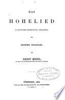 Das Hohelied in deutscher   bersetzung  erkl  rung und kritischer textausgabe