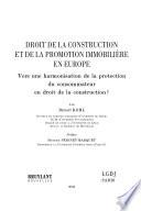 Droit De La Construction Et De La Promotion Immobili Re En Europe