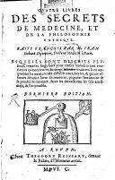 Book Quatre livres des secrets de médecine et de la philosophie chymique