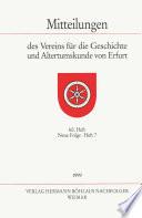 Mitteilungen des Vereins für die Geschichte und Altertumskunde von Erfurt, Heft 60. Neue Folge