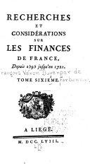 Recherches Et Consid  rations Sur Les Finances de France