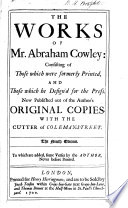 An account of the Life and Writings of Mr  Abraham Cowley  etc