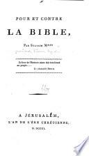 Pour et contre la Bible