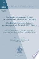 Les langues régionales de France un état des lieux à la veille du XXIe siècle : actes d'un colloque organisé à