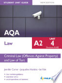 AQA Law A2 Student Unit Guide  Unit 4  Sections A   B  Criminal Law  Offences Against Property  and Law of Tort New Edition eBook ePub Criminal Law  Offences Against Property