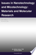 Issues in Nanotechnology and Micotechnology  Materials and Molecular Research  2011 Edition