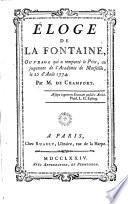 Éloge de La Fontaine, Ouvrage Qui a Remporté Le Prix Au Jugement de L'Académie de Marseille, Le 25 Août 1774
