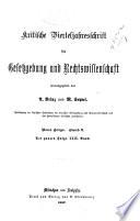 Kritische Vierteljahrsschrift für Gesetzgebung und Rechtswissenschaft ...
