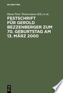 Festschrift f  r Gerold Bezzenberger zum 70  Geburtstag am 13  M  rz 2000