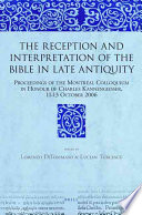 illustration du livre The Reception and Interpretation of the Bible in Late Antiquity
