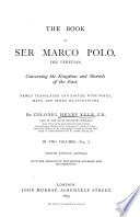 The Book of Ser Marco Polo  the Venetian