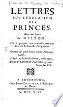 Lettres Sur L'éducation Des Princes