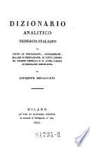 Gramatica della lingua Tedesca ad uso degli Italiani con dizionario analitico Tedesco Italiano