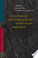 Text Critical And Hermeneutical Studies In The Septuagint
