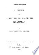 A Primer of Historical English Grammar Book PDF