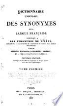 Dictionnaire universel des synonymes de la langue franȧise