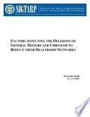 Factors Affecting the Decisions of General Motors and Chrysler to Reduce Their Dealership Networks