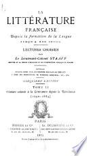 La littérature franc̜aise depuis la formation de la langue jusqu'à nos jours: ptie. Quatrième cours: Auteurs enlevés à la littérature depuis la restauration (1830-1869) 1875