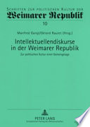 Intellektuellendiskurse in der Weimarer Republik