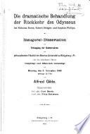 Die dramatische Behandlung der R  ckkehr des Odysseus bei Nicholas Rowe  Robert Bridges und Stephen Phillips