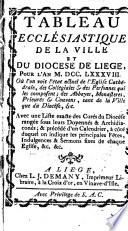 Tableau ecclésiastique de la ville et du diocèse de Liège pour l'an 1788