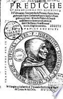Prediche del Reverendo Padre Fra Girolamo Savonarola