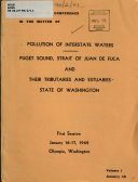 Pollution of Interstate Waters, Puget Sound... Washington, Transcript of Conference in the Matter of ...first Session, Jan. 16-17, 1962, Olympia, Wash