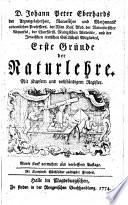 D. Johann Peter Eberhards ... Erste Gründe der Naturlehre ..