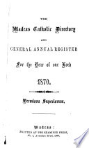 The Madras Catholic Directory and General Annual Register for the Year of our Lord 1870