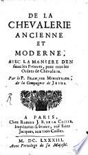 De la Chevalerie ancienne et moderne