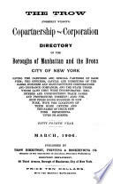 The Trow  formerly Wilson s  Copartnership and Corporation Directory of New York City